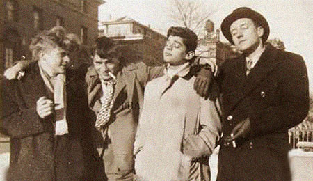 Hal Chase, Jack Kerouac, Alan Ginsberg and William S. Burroughs together at Columbia University in 1945.