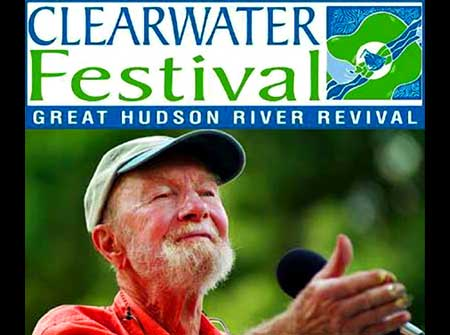 Clearwater Founder and legendary singer, songwruter,activist, Pete Seeger - Click Here To Learn More about Clearwater and The Great Hudson River Revival Music and Environmental Summer Festival!