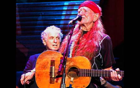 David Amram with Willie Nelson at Farm Aid 2007, Randall's Island, NY. Click Here To Learn More About Farm Aid 2008!