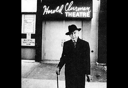 "Harold Clurman ""the Elder Statesman of the American Theatre"" standing in front of the theatre named in his honor, 1980. Click Here To Learn More About Harold Clurman."